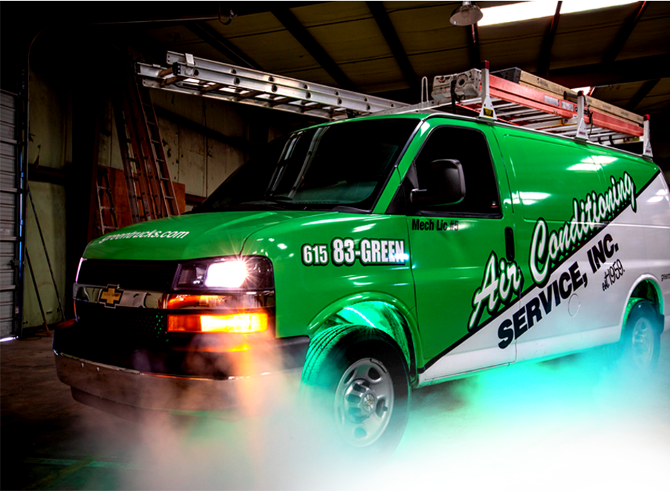 Green Van used by HVAC Experts and AC Contractors at Air Conditioning Service