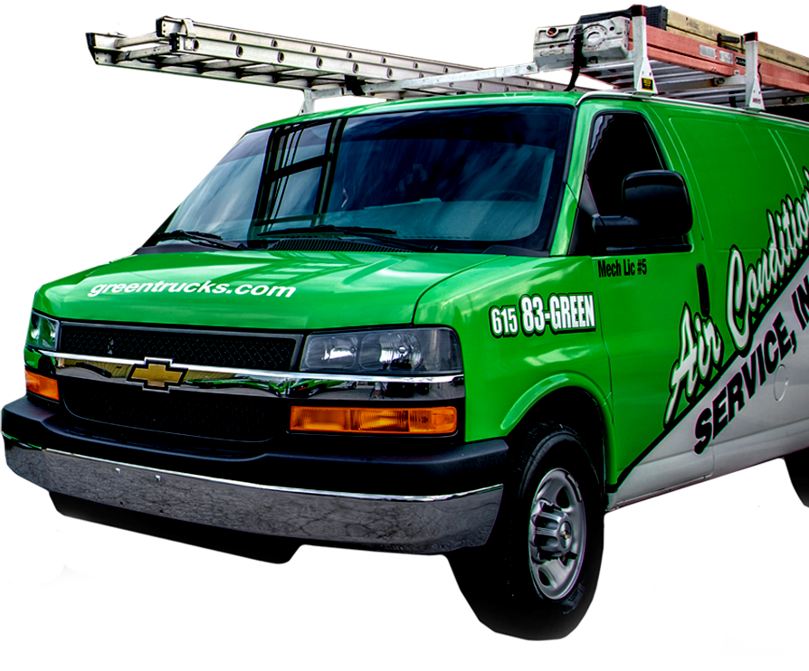 Green Van and HVAC Expert at Air Conditioning Service Company