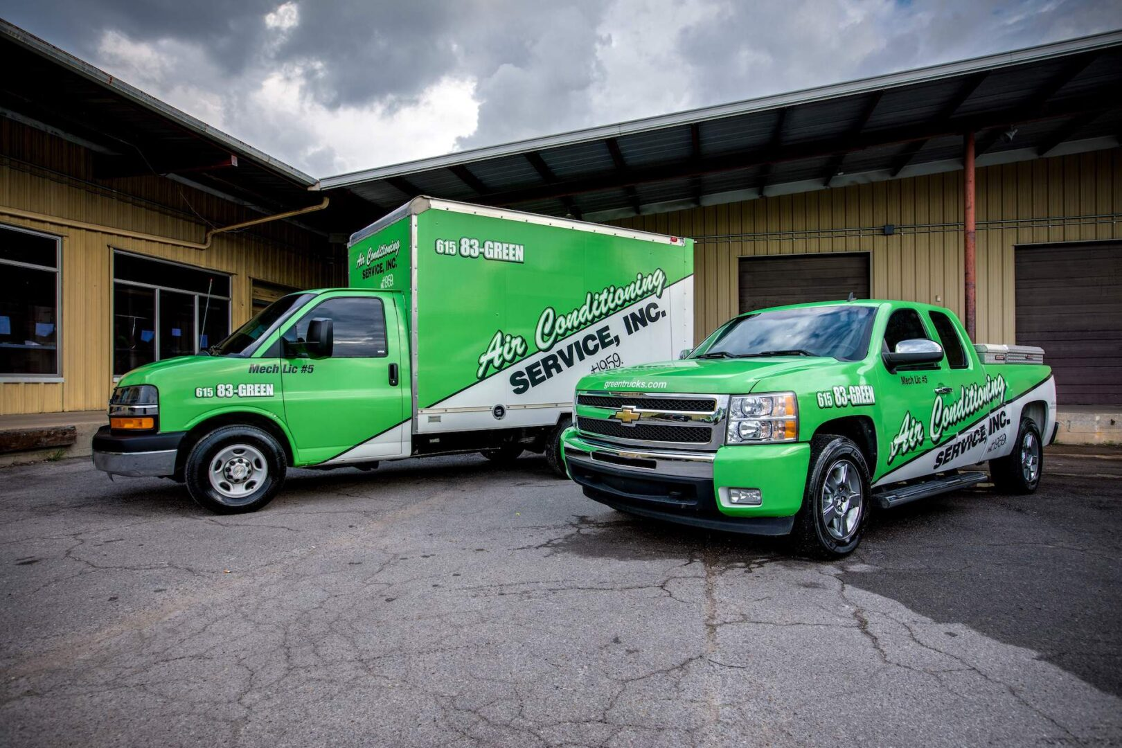 HVAC Experts in the Green Truck and Van for Nashville HVAC Install, HVAC Repair, and Duct Cleaning